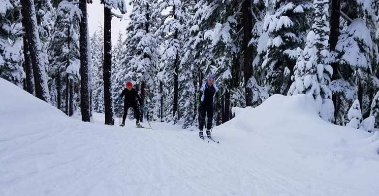 Robin Luce and Tony Percha honing their technique at Mt. Bachelor at the Oregon Fall Camp. (Photo: Doug Cornell)