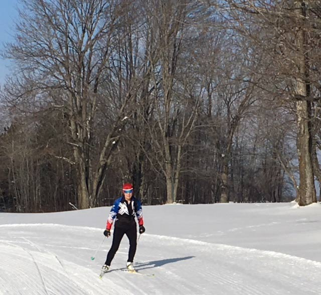 Snow and grooming look fine at Lakes of the North! Gussie Peterson shown skiing on the trail that will be used for The Lakes of the North Freestyle this Saturday.