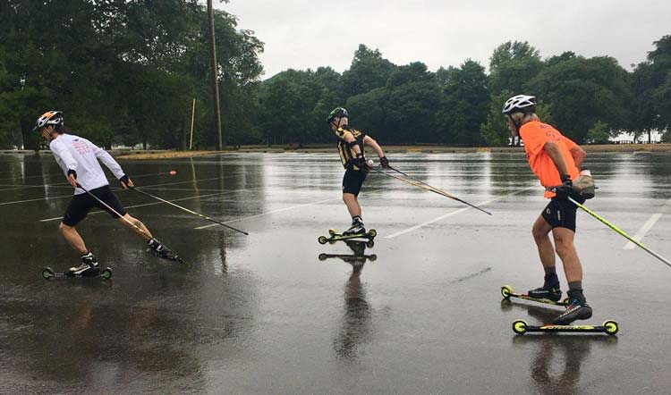 A little rain didn't stop Andy Liebner's rollerski clinic with Team NordicSkiRacer Saturday morning. Now's the time to be working on technique!