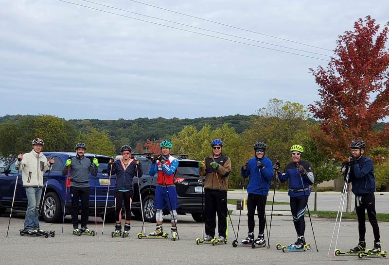 Andy Liebner (left) and some of the racers, post rollerski race at Kensington Metropark.