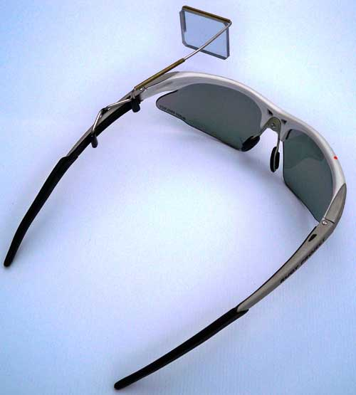 Mirror mounted to sport glasses