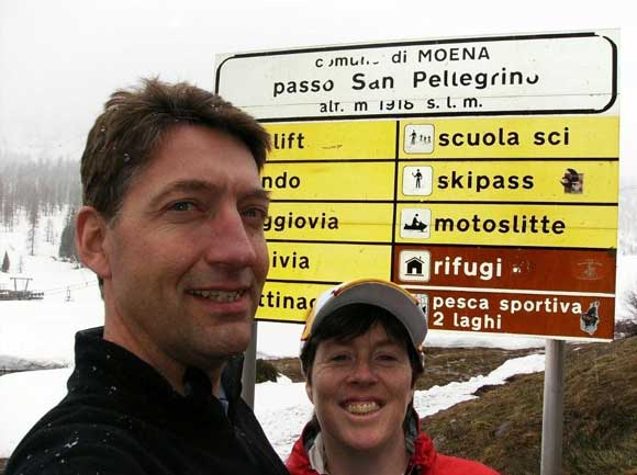 Crossing Passo San Pelligrino in a snowstorm