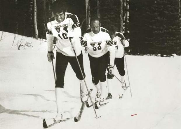 1972 Olympics, featuring Mike Elliott (front), Bob Gray (middle) and Mike Gallagher (back)