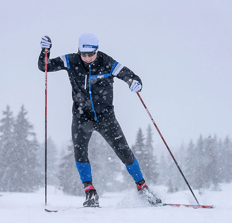 Skier skating with Swix Triac 4.0 Aero cross country ski poles