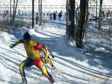 2005 SuperTour champion Ivan Babikov beginning a long climb at Mt Itasca