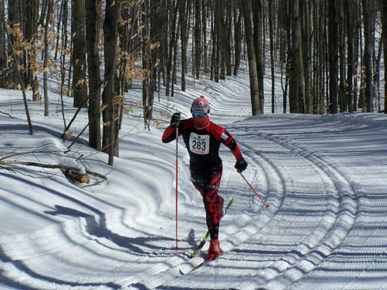 Adam Kates wins the 2008 Boyne Highlands 10km Classic cross country ski race