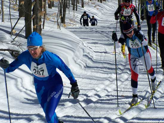 Tracy Hardin leads Emily Flynn at 2008 Boyne Highlands 10km Classic cross country ski race