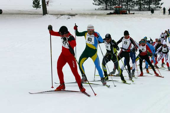 Lead pack at White Pine Stampede xc ski racer