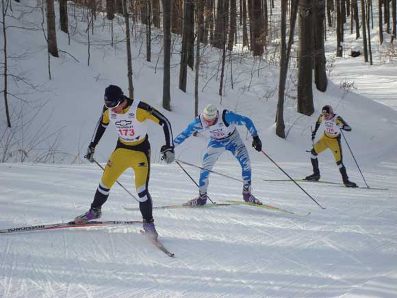 Jessie Smith, with broken ski pole, in 10th position about 4km into the race