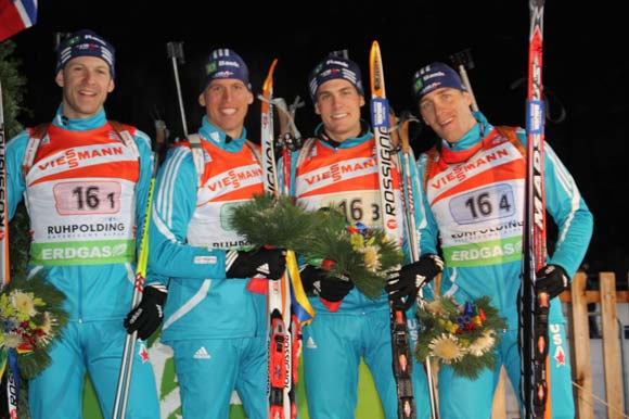 U.S. Men's Relay Team Finishes 6th at Ruhpolding World Cup (left to right:Lowell Bailey (Lake Placid, NY), Jay Hakkinen (Kasilof, Alaska), Tim Burke (Paul Smiths, NY), and Jeremy Teela (Heber City, UT)) Credit: V.Franke/U.S. Biathlon