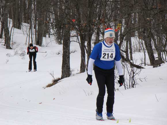 Hap Wright heads for the finish at the Hanson Hills Classic xc ski race.