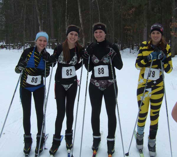 Girls in swimsuits at the 201 Muffin corss coutnry ski race