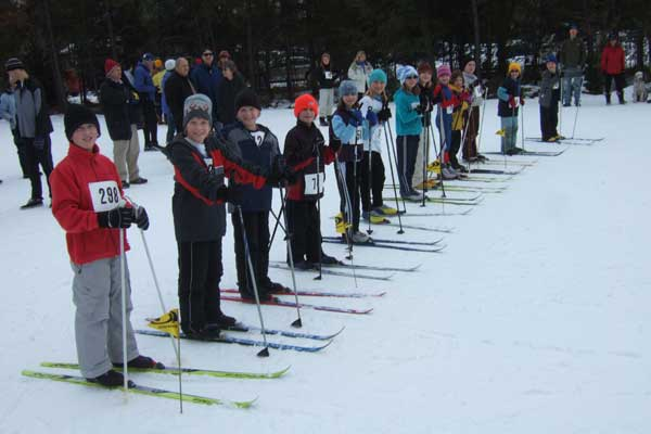 Start of the 7-10 year old age class at the 2020 Muffin cross country ski race