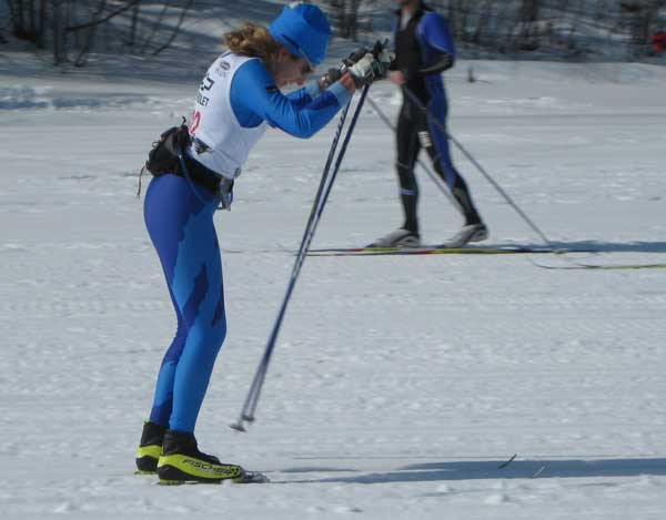 Tracy Hardin double poles to the finish of the 2010 Black Mountain Classic cross country ski race