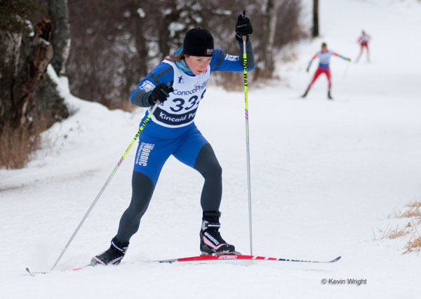 Natalie Dawson of Team NordicSkiRacer skis the 10K Freestyle at US Nationals