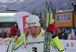 Petra Majdic wins the cross country ski sprint at the World Cup in Davos