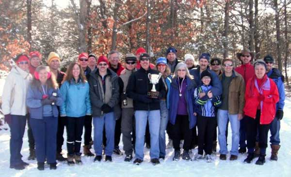 The Vasa Ski Club celebrates their victory in the 2011 Michigan Cup cross country ski race series