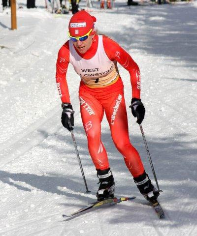 Caitlin Gregg cross country ski racing in West Yellowstone