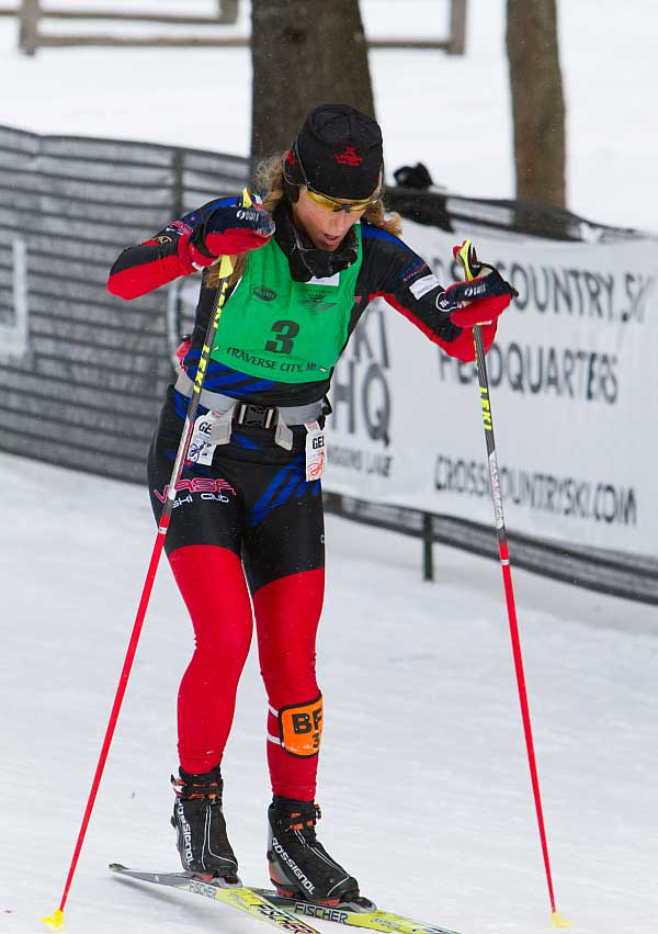 Amy Powell wins the 50K North American Vasa cross country ski race
