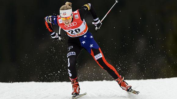 Ida Sargent had her best qualifying round and led the U.S. Cross Country Ski Team women with 16th in the Davos freestyle sprints Sunday. (Getty Images/AFP-Fabrice Coffrini)