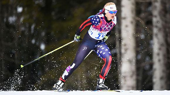 Jessie Diggins, shown here racing in Sochi, led the U.S. Cross Country Ski Team finishing 15th in a 5k freestyle event in Lillehammer. (Getty Images-Harry How)
