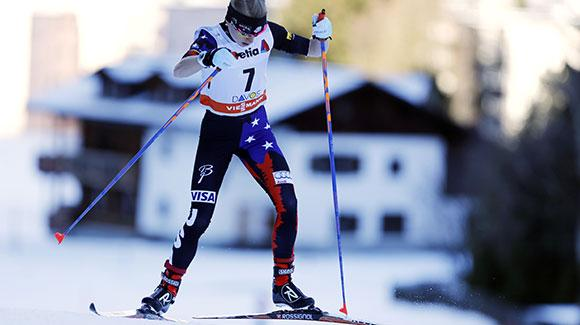 Liz Stephen skis to a strong 12th place finish in a 10k freestyle in Davos. (Getty Images/AFP-Pierre Teyssot)