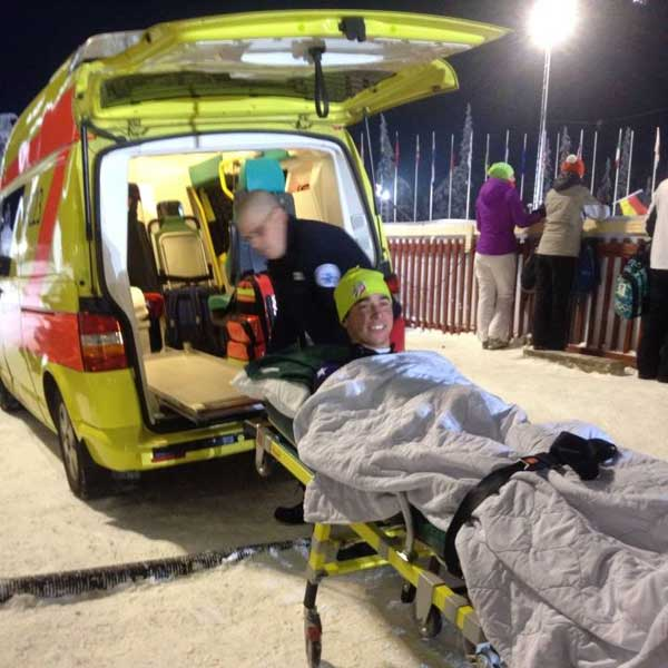 Noah Hamilton loading into a ambulance with a broken fiblula (Photo: Liz Stephens)