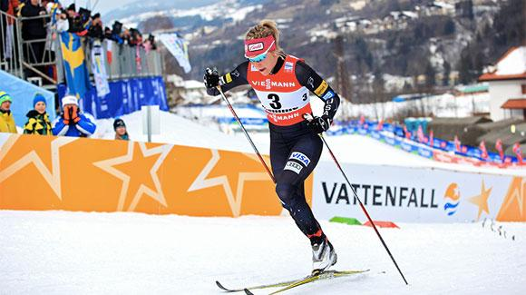 Sadie Bjornsen, shown here racing at World Championships in Italy, led the U.S. Ski Team finishing 17th in the women's 10k classic World Cup in Ruka. (USSA-Sarah Brunson)