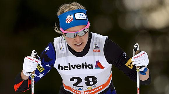 Sadie Bjornsen joined a pack of three U.S. women who skied into the low 20s in a 10k classic race in Davos. (Getty Images/AFP-Fabrice Coffrini)