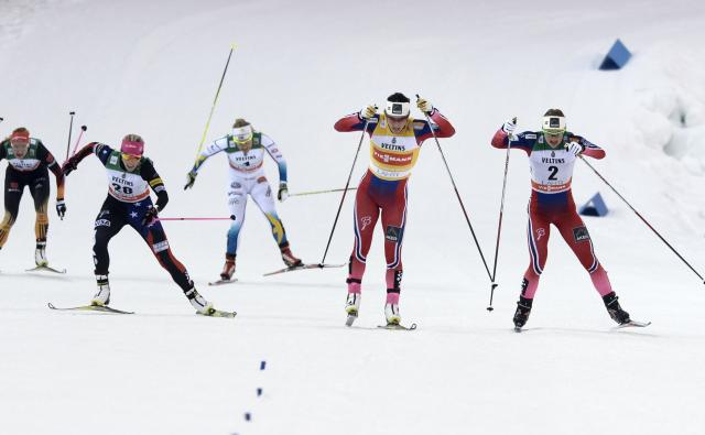 Kikkan Randall skis to third in Lahti. (Getty Images/AFP-Martti Kainulainen)