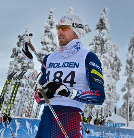 Andy Newell prepares for his qualifying start in the opening FIS sprint in Sweden.