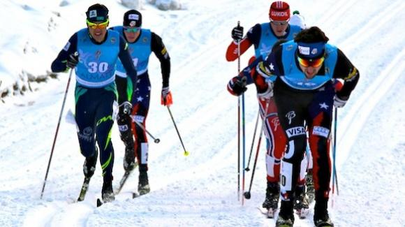 Ben Saxton (right) charges to the front of a pack en route to a record sixth place finish in the U23 World Championships in Almaty