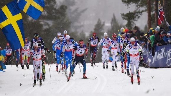 Noah Hoffman (bib 34) skiing with the lead pack at the Falun 50K. He finished 31st. (Getty Images-Mike Hewitt)