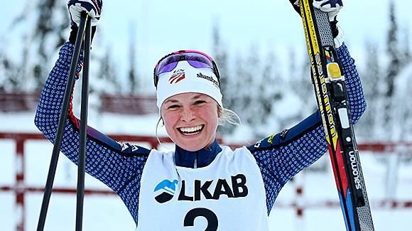 High above the Arctic Circle, Jessie Diggins led a strong showing by the U.S. Cross Country Ski Team in a tuneup race for next weekend's World Cup opener. (Stefan Nieminen)