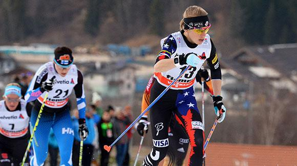 Liz Stephen put in a gutsy performance in warm temperatures finishing fifth in the 10k classic mass start in the first of two Val di Fiemme Tour de Ski legs. (Getty Images/AFP-Vincenzo Pinto)
