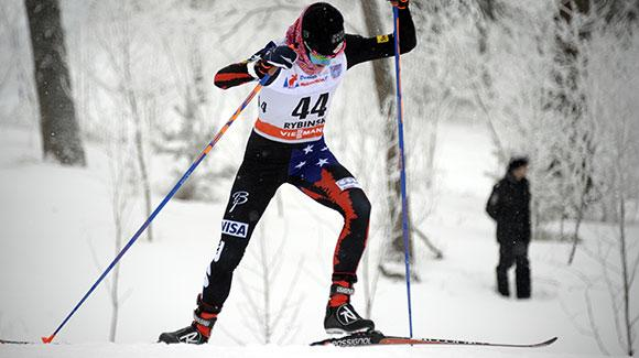 Liz Stephen skied to second place in the 10k freestyle race in Rybinsk, Russia. (Getty Images/AFP-Alexander Nemenov)