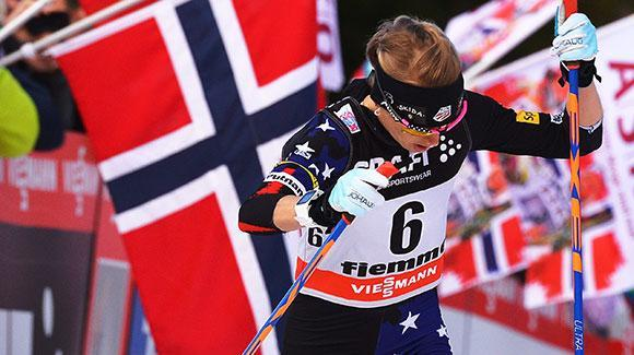 Liz Stephen (racing earlier this season at the Tour de Ski) led the U.S women today with a 9th place finish at the Holmenkollen 30K Freestyle World Cup. (Getty Images)