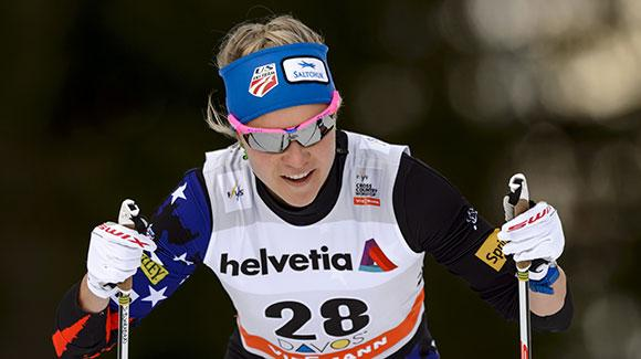Sadie Bjornsen, shown racing earlier this season in Davos, led the USA finishing 15th in a classic sprint in Otepää. (Getty Images/AFP-Fabrice Coffrini)