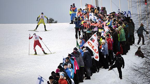 Spectators pack the trails in Finland for the race. (Getty Images-Martti Kainulainen)