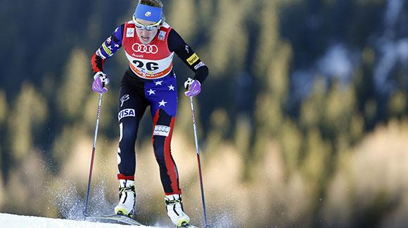 Sophie Caldwell, shown here racing in Davos, skied to a seventh place finish to lead the USA in Val Mustair. (Getty Images/Agence Zoom)