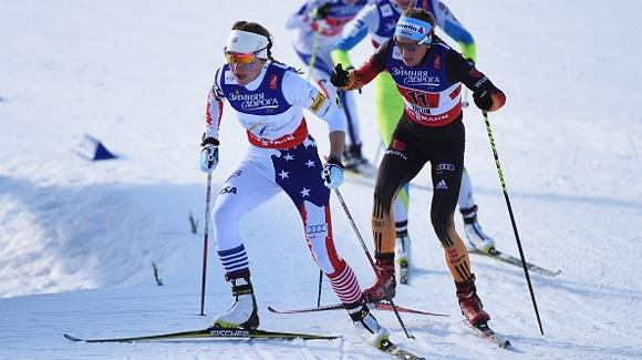 Sophie Caldwell, shown here during the 2015 FIS Nordic World Ski Championships, was the top American finisher in sixth in the 1.6K Sprint in Davos Sunday. (Getty Images-Matthias Hangst)