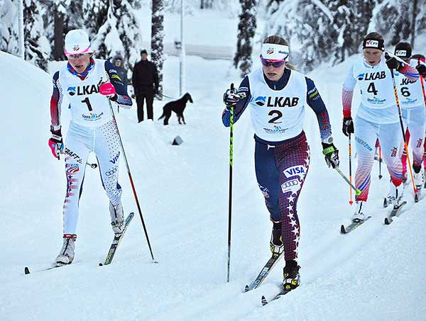Sophie Caldwell (left) and Jessie Diggins charge hard during a classic sprint in Gaellivare. (U.S. Ski Team)