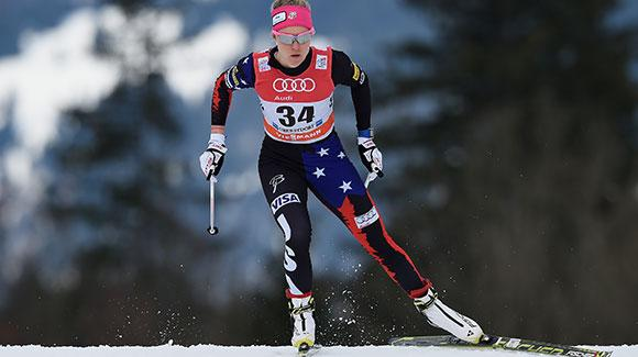 Sadie Bjornsen skis to an impressive seventh in the Tour de Ski prologue in Oberstdorf. (Getty Images/Bongarts-Matthias Hangst)