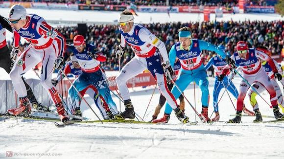Andy Newell in the finals of the FIS Nordic World Ski Championships Team Sprint Event. Newell and his teammate, Simi Hamilton, finished seventh. (Flyingpoint Photo)