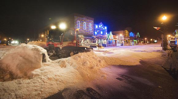 Nearly a foot of fresh snow is groomed into place on Hayward's Main Street for the 43rd running of the Slumberland American Birkebeiner (USSA-Tom Kelly)