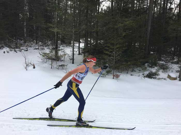 Senior Ellen Wiitala skiing to 4th place in the Women's 15km Classic at the  USCSA National Championships in Lake Placid, NY