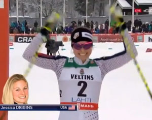 Jessie Diggins second in Lahti Freestyle Sprint