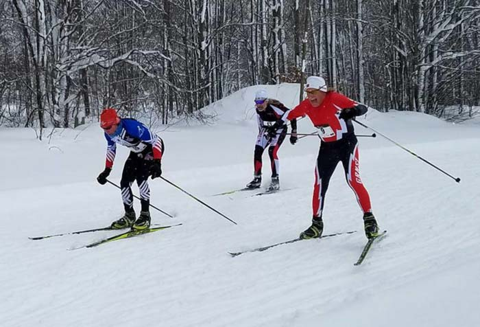 Cliff Onthank, Don Camp, and Greg Worsnop fit for the finish at the 2016 Lakes of the North Winterstart xc ski race