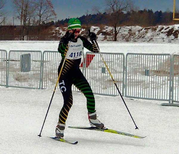 Mary Lyon from Traverse City Central wins 2016 Michigan State High School Cross Country Ski Championship