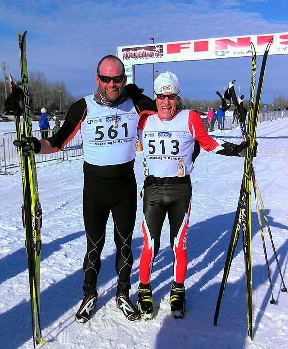 Bob Smith and Don Camp at the finish of the 2016 Noquemanon Ski Marathon